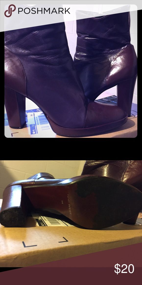 Purple ankle boots Nine West ankle boots. Very trendy with chunky heel. Nine West Shoes Ankle Boots & Booties
