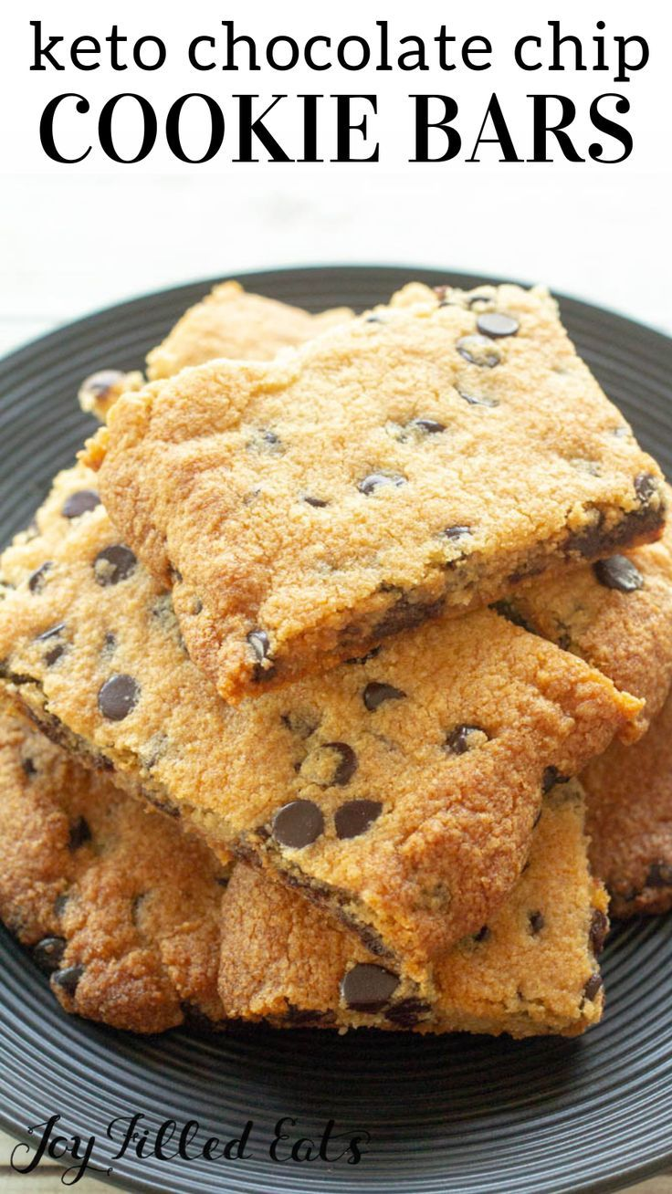 Keto Chocolate Chip Cookie Bars Low Carb Gluten Free Grain