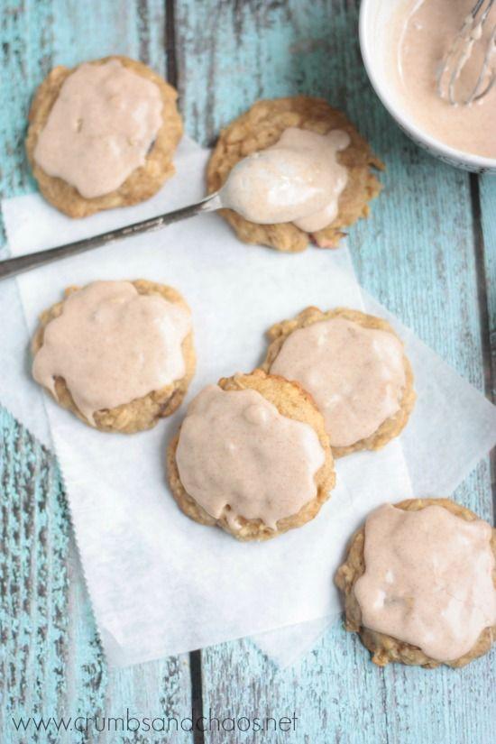 Glazed Apple-Oat Cookies | recipe on www.crumbsandchaos.net