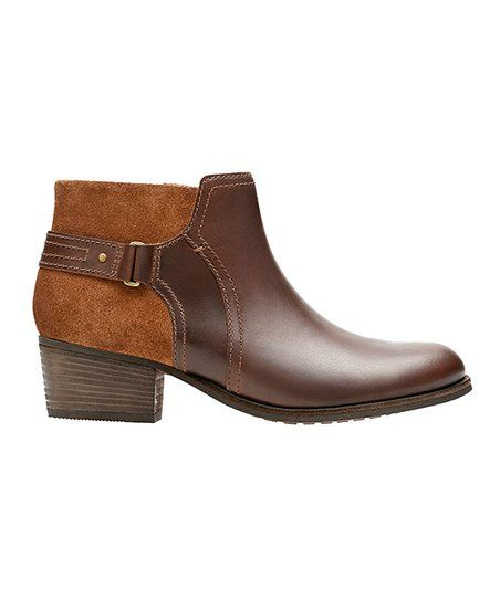 Clarks Dark Tan Maypearl Lilac Leather/Suede Bootie | zulily