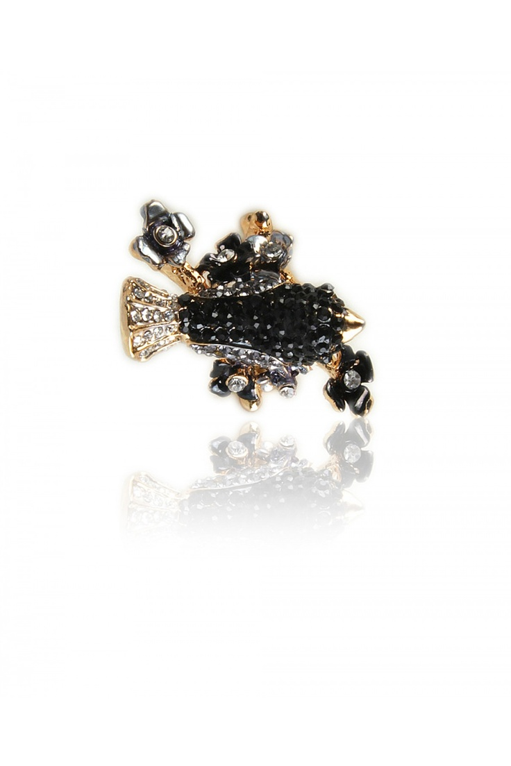 Statement Cocktail Ring -  One of a kind statement piece, Crafted 3 Dimensional stone encrusted bird on a tree, Intricate molding and finishing, Gold finishing..... - Rs. 599.00