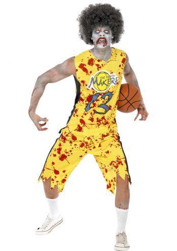 Deze zombie is een basketbal speler die onder het bloed zit en kleerscheuren heeft. Het pak is perfect voor een horror avond met bijvoorbeeld een Halloween feest. Dit pak bestaat uit een geel sport shirt van basketbal en een broek. Om de look compleet te maken kan er extra bloed over de armen of het gezicht gedragen worden en contact lenzen, zie onderaan de pagina de producten.