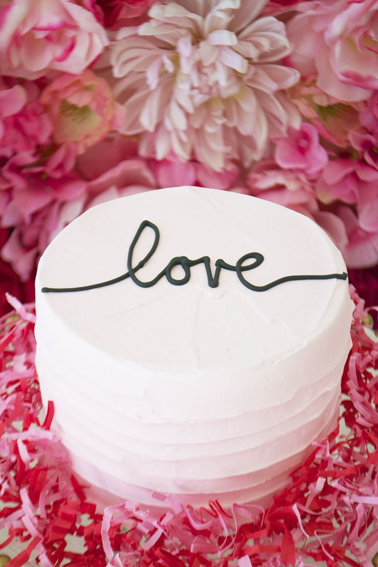 Sweet love - a pale pink Valentine's Cake with rustic icing by Bake Sale Toronto.