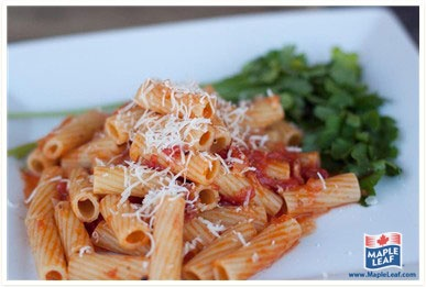 Rigatoni All'Arrabbiata- Angry Bacon Pasta from www.MapleLeaf.com
