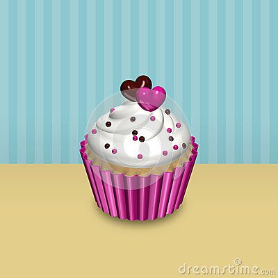Valentines card with 3d cupcake over vintage background