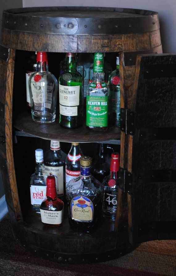 Whiskey Barrel Liquor Cabinet With Double Lazy Susans