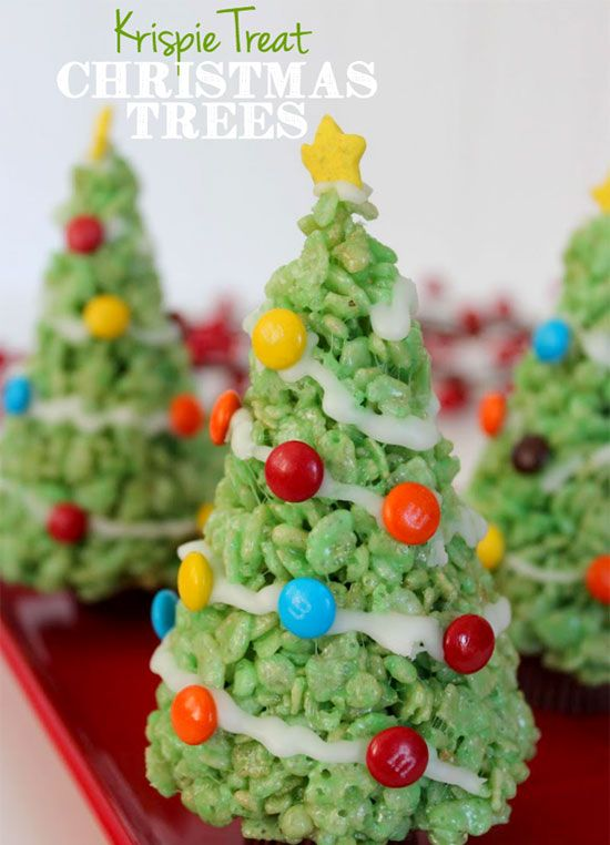 These rice cereal treat Christmas trees even feature candy ornaments and stars.