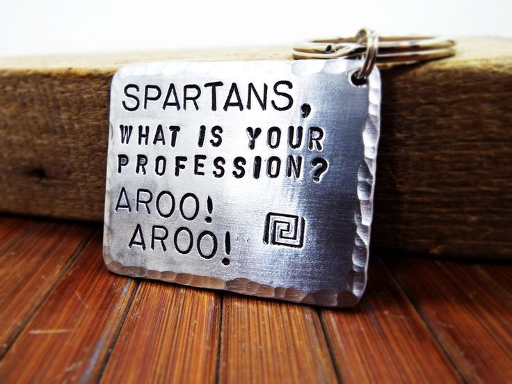 Spartans What Is Your Profession? AROO AROO - Aluminum Keychain - Best Spartan Quote from 300 Movie - Best gift for passioned with Spartans by Aluminiopassions on Etsy
