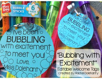"""Bubbling with Excitement"" Welcome Back Gift Tags As a first year teacher, you can probably tell from a mile away that I am BUBBLING WITH EXCITEMENT to meet my class full of kinders in August! When I saw colorful bubbles on sale at the store, I knew that this would be the perfect back to school gift for my new students. I will give each of my students their own bubbles with this gift tag on Meet the Teacher night as part of a scavenger hunt around the classroom! (This will be the prize that…"