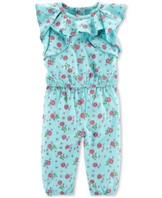 e15642959 Baby Girls Floral-Print Cotton Coverall | Tenleigh | Ruffle jumpsuit ...