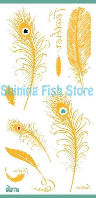 Find More Temporary Tattoos Information about  Peacock Feather Gold Temporary Tattoo,Metallic gold temporary tattoos Wholesale  25sheets,High Quality feather care,China tattoo tray Suppliers, Cheap tattoo military from Shining Fish Store on Aliexpress.com