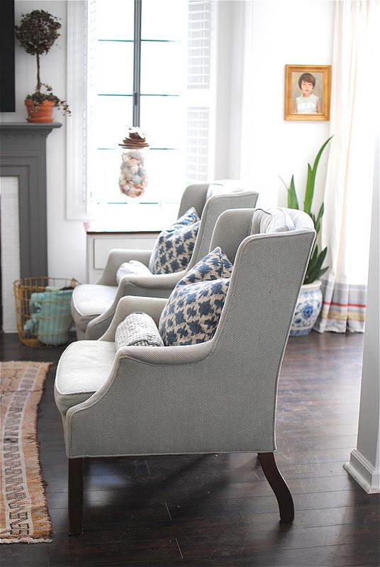 Gray Living Room With Matching Chairs And Blue Cushions   Grace Happens