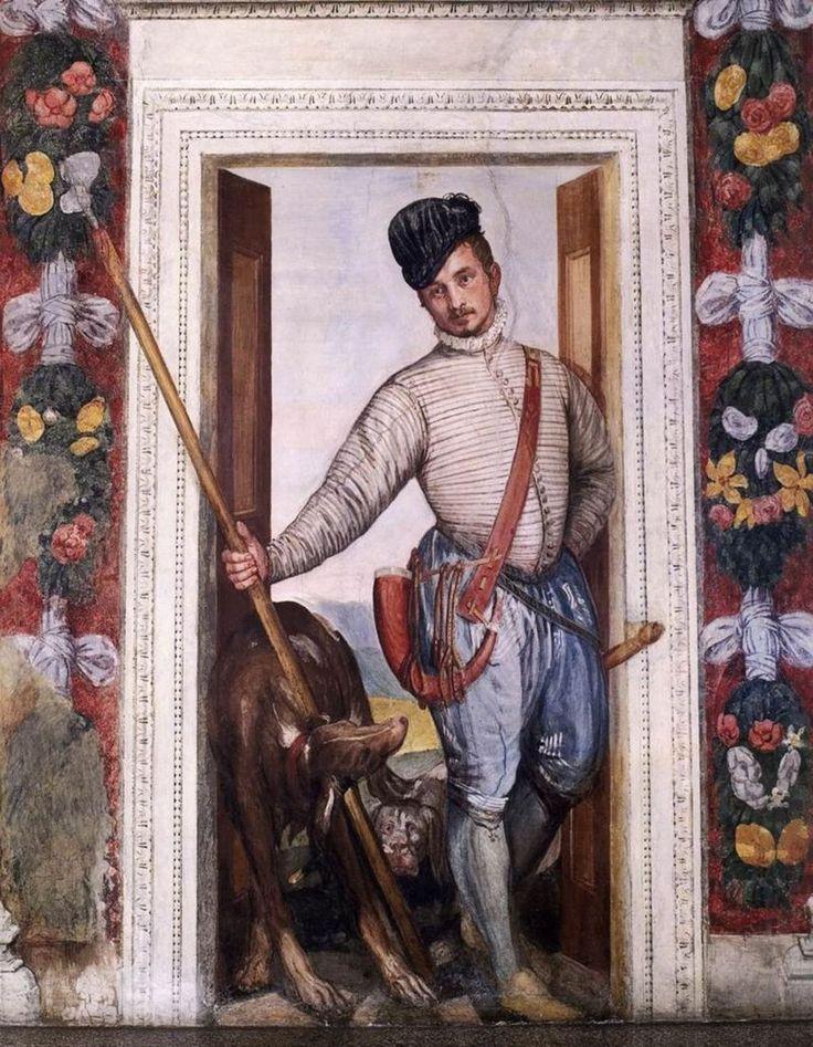 Paolo Veronese-Autoritratto,Affresco,1560-1561,Villa Barbaro, Maser (villa veneta, costruita da Andrea Palladio tra il 1554 e il 1560 per l'umanista Daniele Barbaro e per suo fratello Marcantonio Barbaro, ambasciatore della Repubblica di Venezia