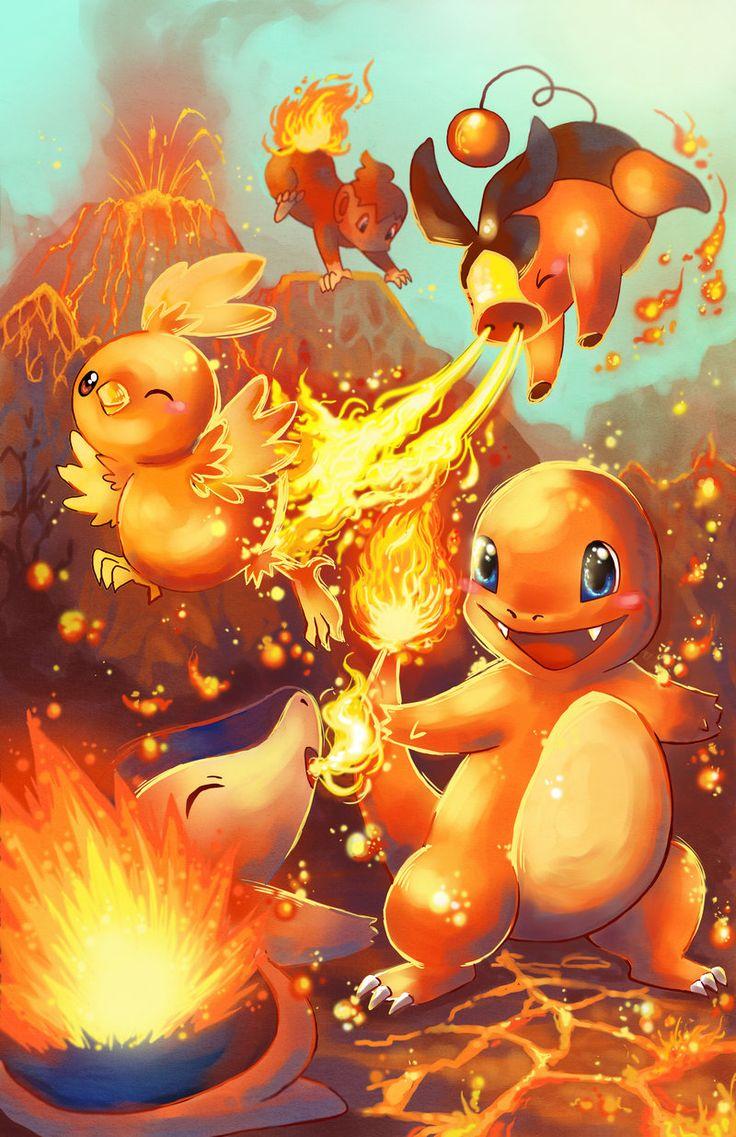 Pokémon Tipo Fuego con los que se puede comenzar. Charmander, Cyndaquil, Torchic, Chimchar y Tepig