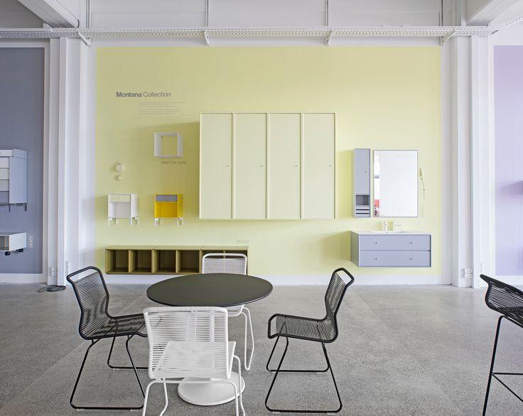 A snapshot from the Lemon Drop wall in the Copenhagen showroom.  #montana #furniture #danish #design #yellow #easter #storage #wardrobe #wall