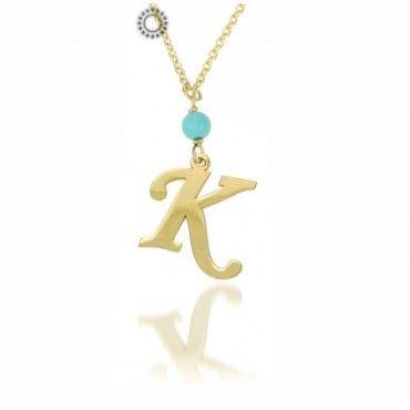 Κολιέ με αρχικά ονομάτων από χρυσό με τυρκουάζ & αλυσίδα | Χρυσά κοσμήματα κολιέ με μονόγραμμα στο e-shop & στο κοσμηματοπωλείο μας στο Χαλάνδρι #μονογραμμα #τυρκουαζ #χρυσο #κολιε