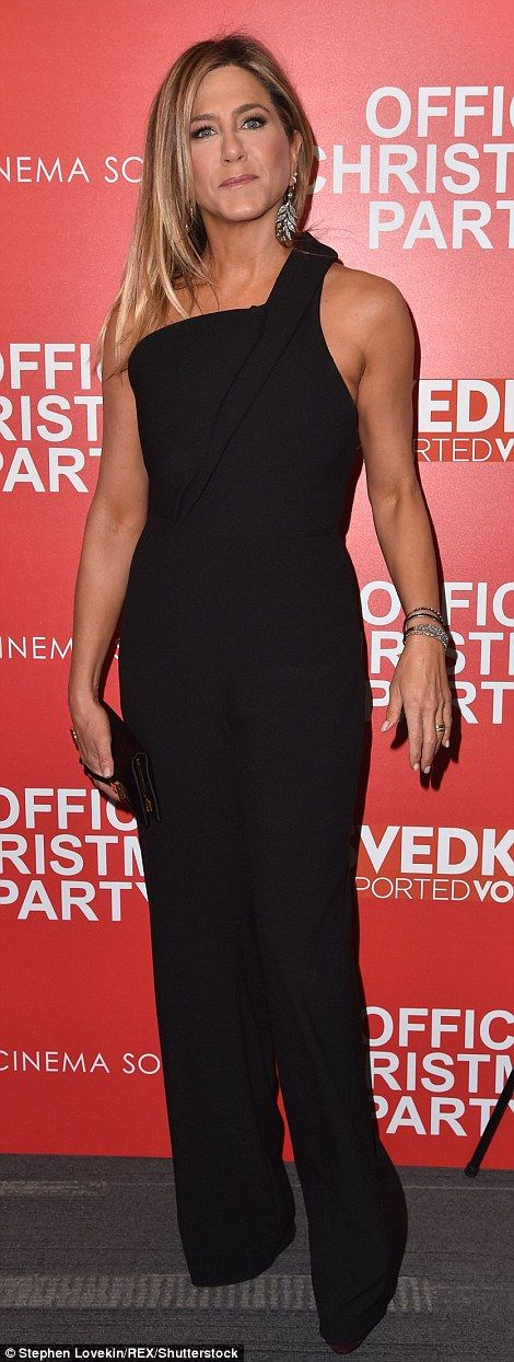 Woman of the hour: Jennifer Aniston was a showstopper on the red carpet when Office Christmas Party screened at the Landmark Sunshine Cinema in New York City