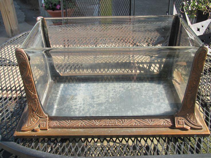"Jewel ""modernistic"" antique vintage aquarium bronzed cast iron bulb edge glass"