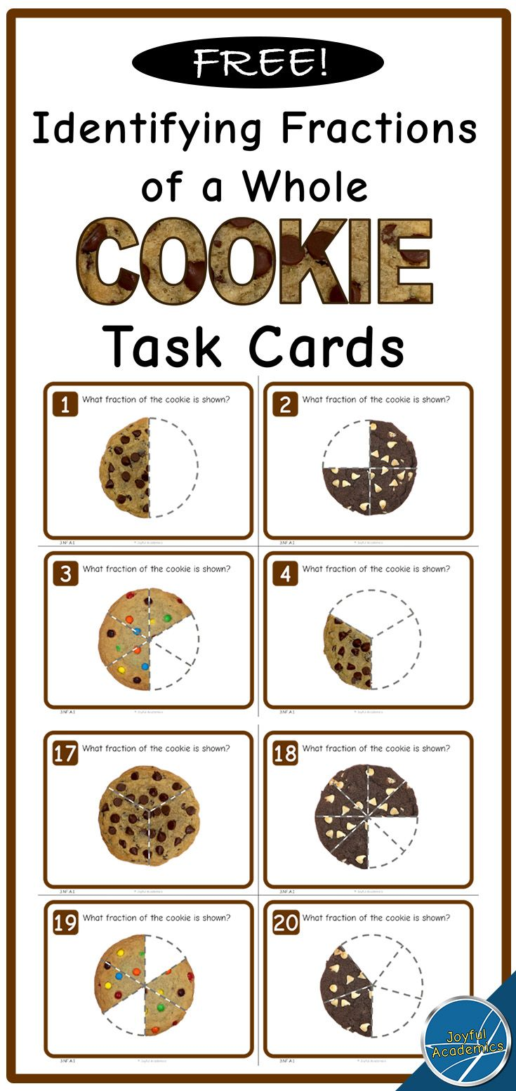 FREE! Identifying Fractions of a Whole Cookie Task Cards  Here are 20 free task cards to practice identifying fractions of a whole. Each task card asks students to identify a fraction of a whole circle. Students can write the fraction on the answer sheet. An answer key is included.   This set of task cards supports CCSS math standard 3.NF.A.1.