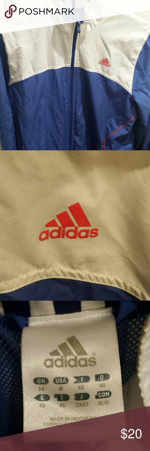 Adidas zip up jacket Blue and white zip up Adidas jacket size medium Adidas Jackets & Coats