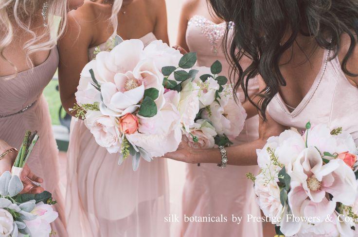 silk botanicals: magnolia, peony, english rose, by Prestige Flowers & Co.