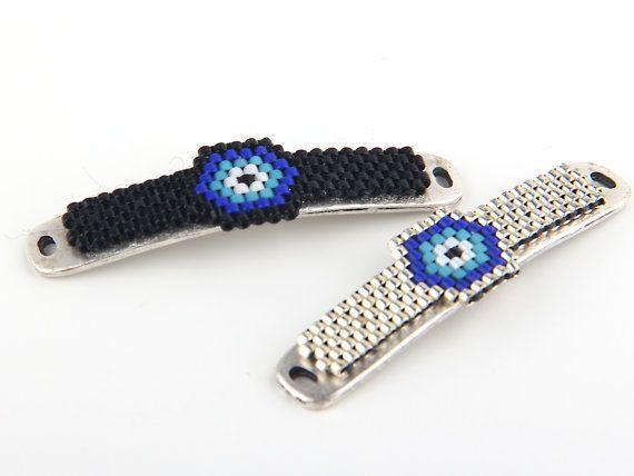 Peyote Stitch Evil Eye Bracelet Bar Handmade by ShiShisBoutique