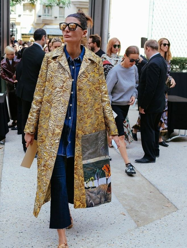 Giovanna Battaglia spotted on the street at Paris Fashion Week. Photographed by Phil Oh.