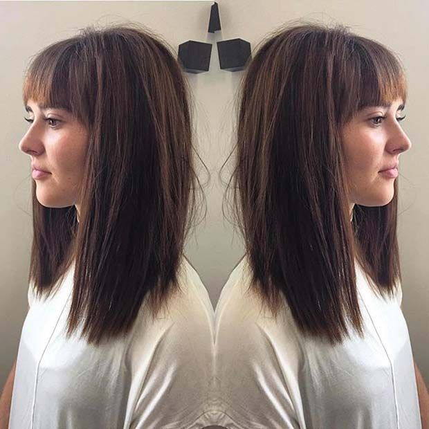 Dark Brown Blunt Lob with Bangs