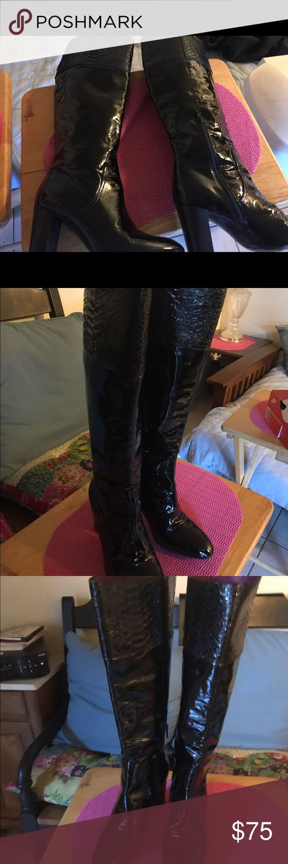 Coach Black Patent Leather Knee High Boots Black Patent Leather Boots. Good Condition. Size 8 Coach Shoes Heeled Boots