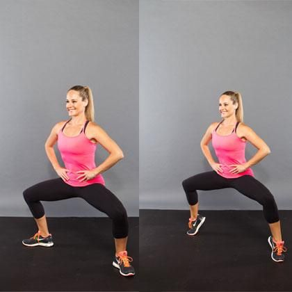 How to do it: Stand with your feet wider than hip-width apart, toes slightly turned out, hands on your hips. Bend your knees over your toes and lower your body into a squat. Hold this position and lift your heels up (without raising your hips) and then press them back down 10 times in a row. Return to standing to complete one rep. Do 5 reps total.    Make sure you keep your abs braced in tight