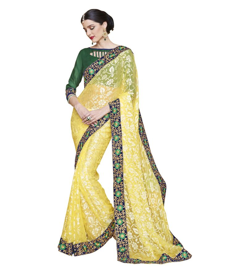 Buy Now Yellow Fancy Embroidery Brasso Party Wear Saree With Dhupian Blouse only at Lalgulal.com. Price :- 2,232/- inr. To Order :- http://goo.gl/ytStcq COD & Free Shipping Available only in India
