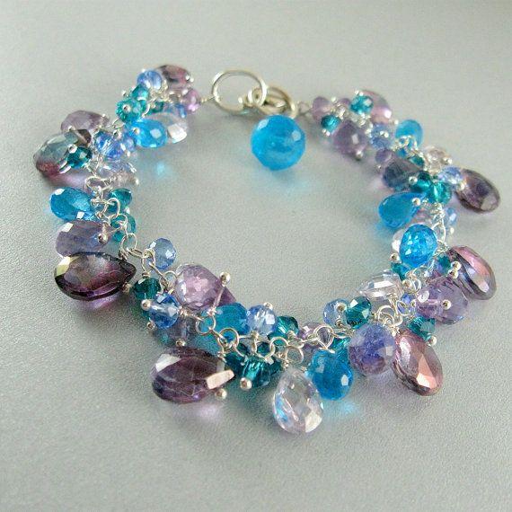 Turquoise and Lavender Gemstone Bracelet by SurfAndSand on Etsy, $129.00