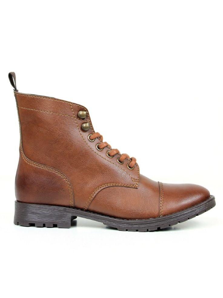 Vegan womens work boot in chestnut brown by Wills London