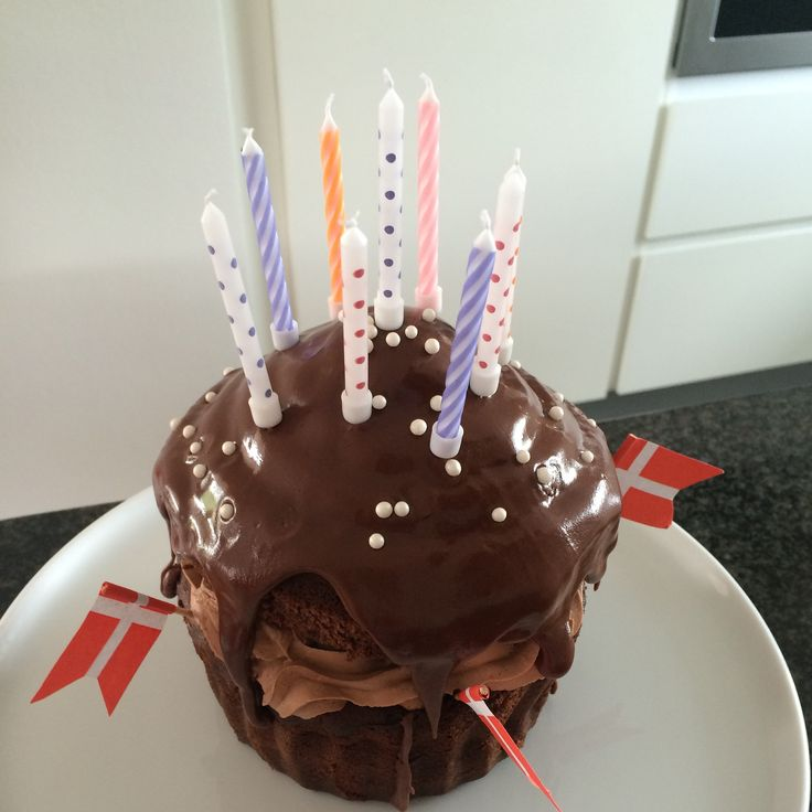 Big cupcake, birthday cake  With Nutella and strawberries