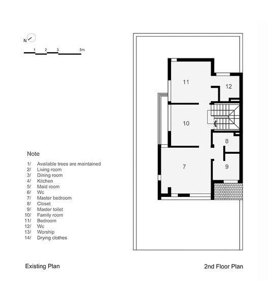EPV House,Existing Plan - Second Floor Plan