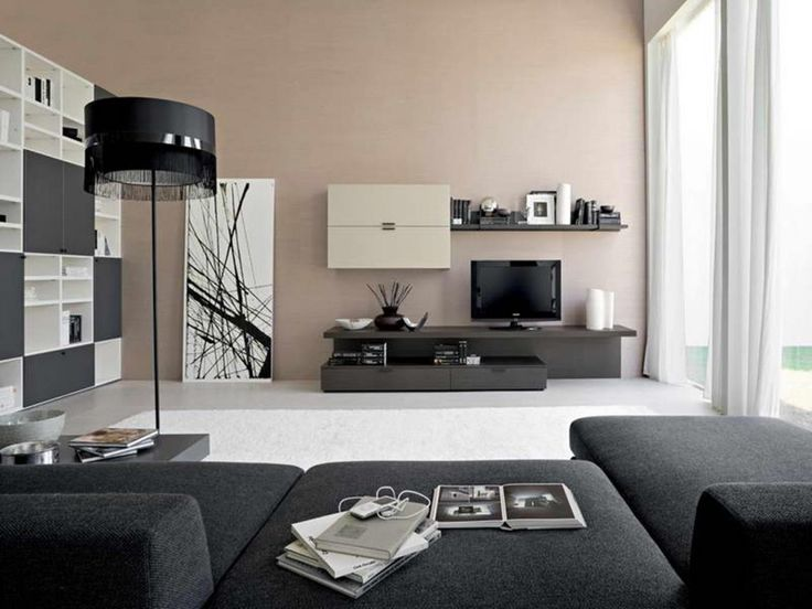 Living Room Contemporary Ideas With Creamy Colour Coupled A Wide Black And