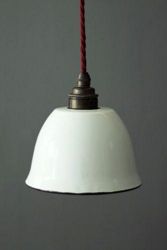 Small Enamel Lamp Shade - White