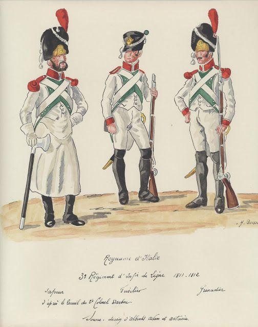 1811 - 1812, Regno d'Italia, Fanteria, Linea, 3° Reggimento. Zappatore…