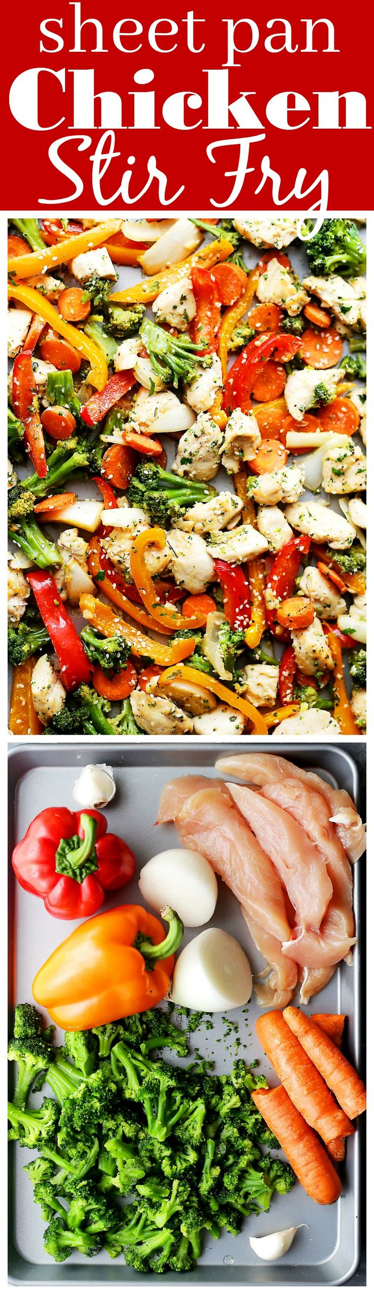 "Sheet Pan Chicken ""Stir Fry"" - Just one pan and 30 minutes is all you will need to make this amazing meal! Skip the wok and make this quick and healthy chicken stir fry dinner in the oven!:"
