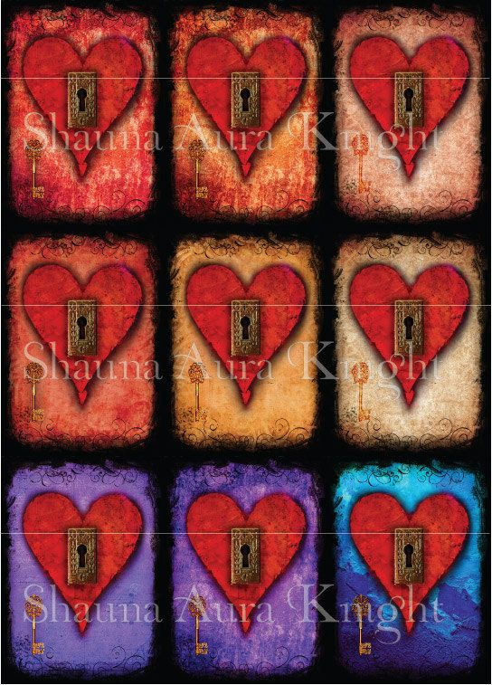 Valentine Key Hearts ATC 2.5 x 3.5 Inch by ShaunaAuraKnight