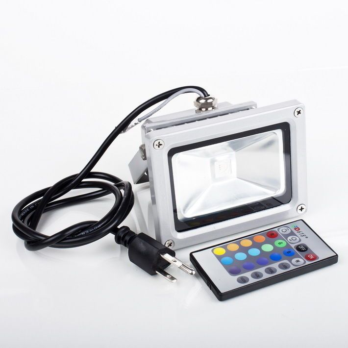 rgb 10w high output led outdoor flood light w ir remote multicolor changing