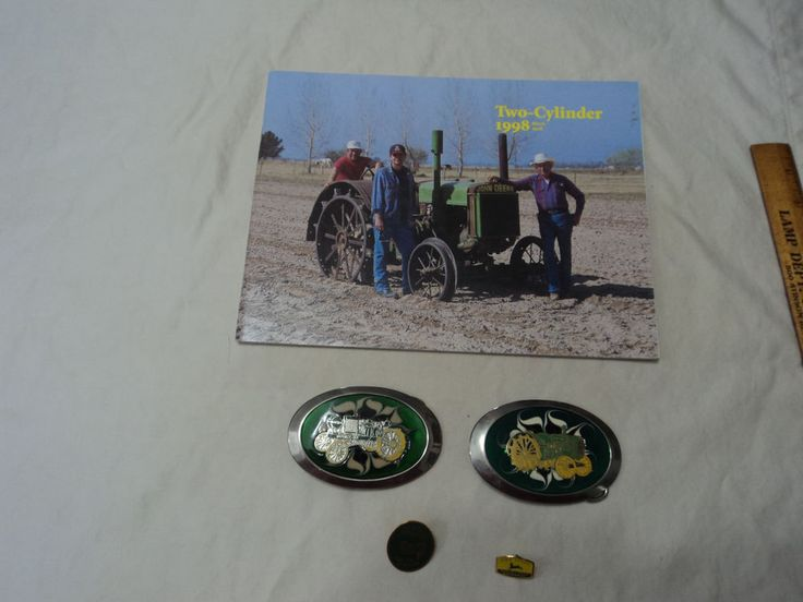 John Deere Collectibles lot - Two Cylinder Magazine - Lapel Pins - Belt Buckles #JohnDeere