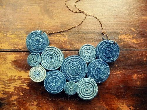 This recycled, geometric nacklace is made of a vintage Levis denim jacket.  This one is more simple from my other jean necklaces.    Not heavy, and