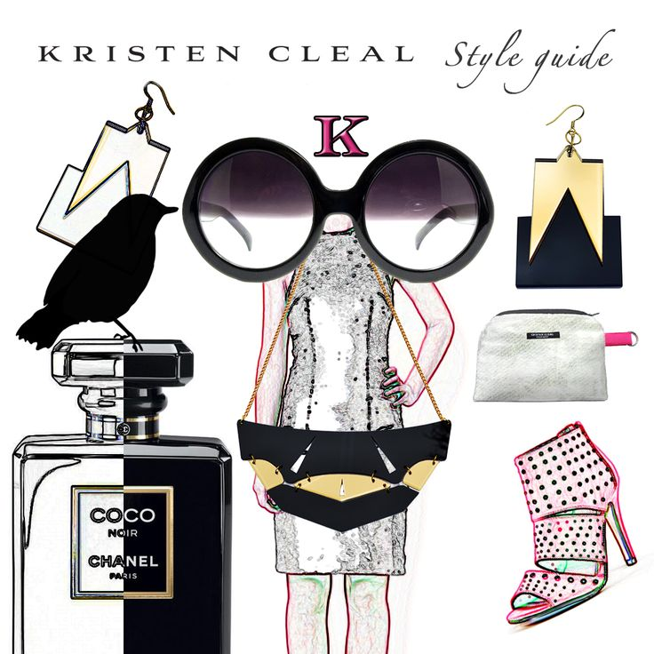 FRIDAY STYLE GUIDE >>> We've created this fab illustration for our fans, followers & fashion lovers! Electric Cosmetic Bag, Kristen Cleal $25. Rage Earrings, Kristen Cleal $20. Warrior Necklace, Kristen Cleal $35. Mia Strappy High Heel, Novo Shoes $79.95. Riley Sequin Racer Cut Dress, Bariano $230. Half Tint Sunglasses, CHANEL. Coco Noir by Chanel Parfum, Chanel $130.