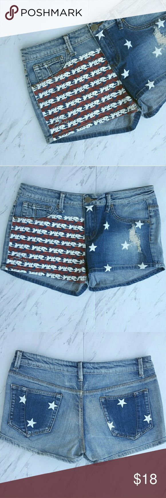 """$8 SALE! American Flag Denim Shorts $8 SALE PRICE IS FIRM UNLESS BUNDLE - NO OFFERS These jeans shorts are way cute, and PERFECT for the 4th of July ! Minimal wear, great condition ! Size 13, measurements: waist about 16"""", rise 9"""", inseam 2.5"""". Shorts Jean Shorts"""