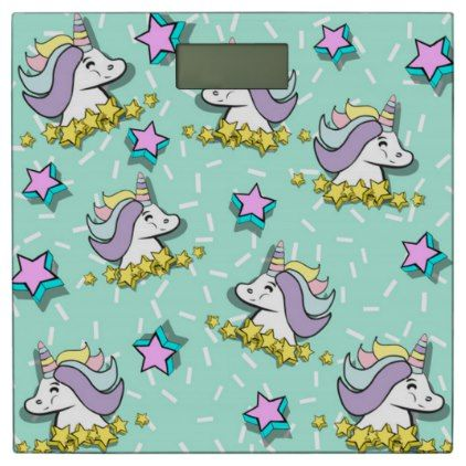 Magical Happy Unicorn And Stars Bathroom Scale - home gifts ideas decor special unique custom individual customized individualized