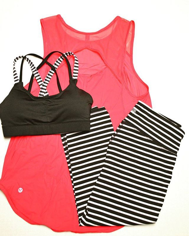 Lululemon Sculpt Tank in Boom Juice, Athleta black and white striped Chaturanga capris, and Target sports bra