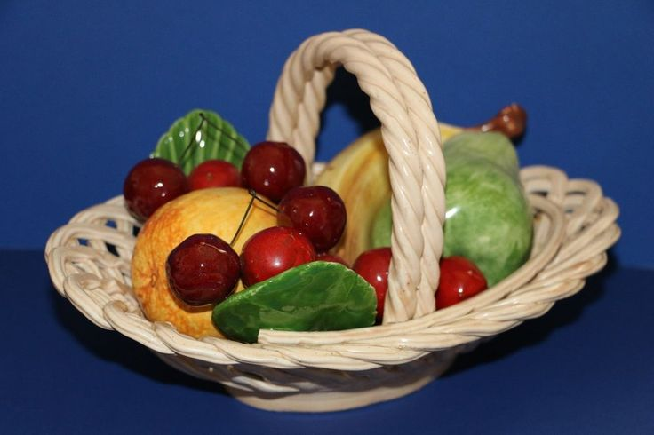 Bassano Ceramic Woven Oval Basket of Fruit Tabletop Centerpiece Decor Italy