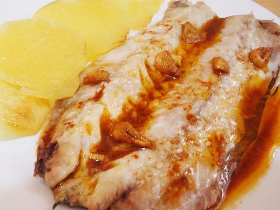 receta de caballa con patatas al pimentón (al microondas)