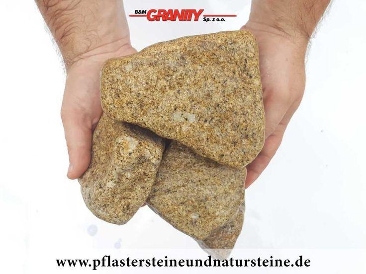 Ziersteine / Gerundete (getrommelte) Steine aus Granit, gelb (nass) für Gabionen